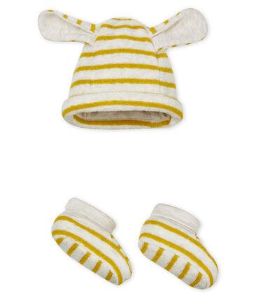 Gorro y patucos de rayas para bebé unisex