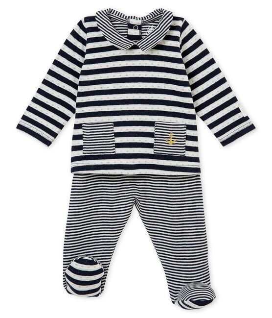 Conjunto de 2 piezas para bebé mixto en túbico a rayas azul Smoking / blanco Marshmallow