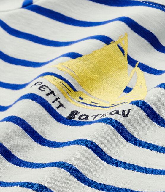 Camiseta de bebé niño con manga corta blanco Marshmallow / azul Perse