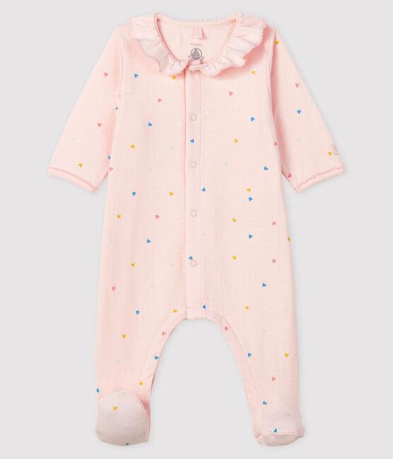 Pijama rosa con corazones de túbico para bebé niña rosa Fleur / blanco Multico