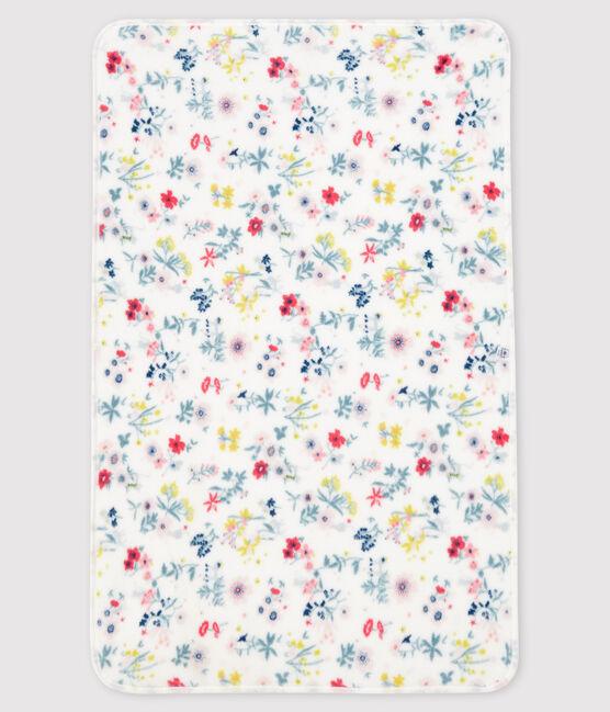 Manta de flores de punto acanalado para bebé niña blanco Marshmallow / blanco Multico