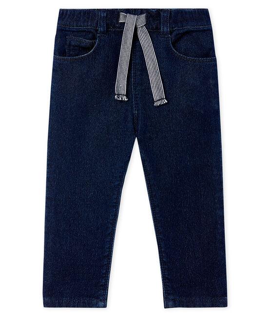 Pantalón en tela efecto vaquero para bebé unisex azul Jean