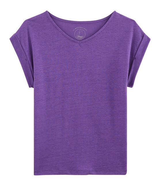 Camiseta de lino para mujer violeta Real