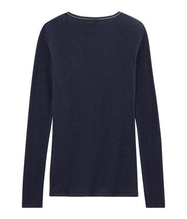 Camiseta cálida de mujer azul Smoking