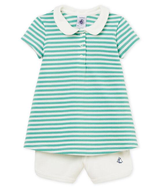 Vestido polo manga corta de rayas y shorts para bebé niña lote .