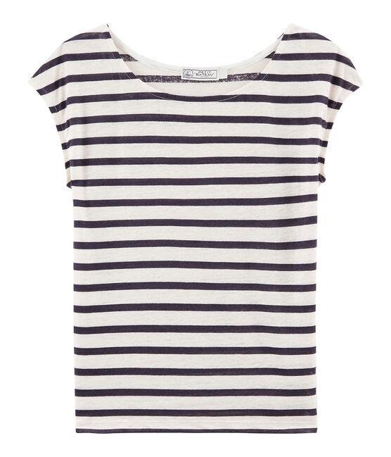 Camiseta de lino para mujer blanco Marshmallow / azul Medieval