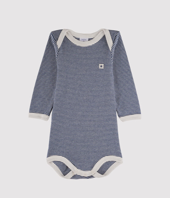 Bodi de manga larga para bebé niño azul Medieval / blanco Marshmallow
