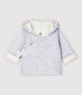 Chaqueta con capucha gris de bebé de tejido tubular acolchado de algodón ecológico gris Poussiere Chine