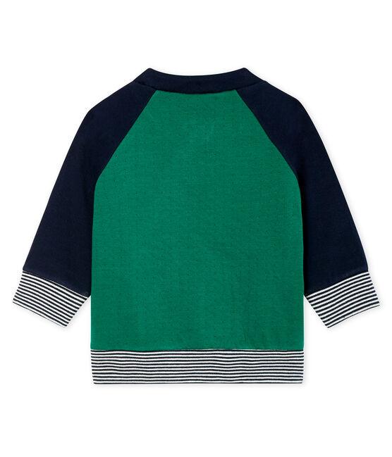 Cárdigan de tela túbica con cremallera para bebé niño verde Ecology / azul Smoking