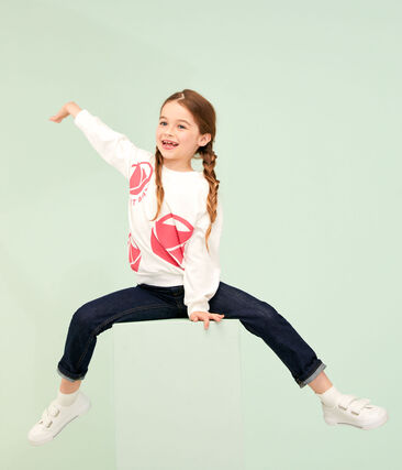 Sudadera de niño blanco Marshmallow / rosa Geisha