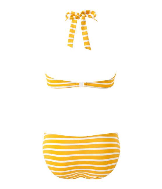 Bañador rayado de 2 piezas para mujer naranja Fusion / blanco Marshmallow