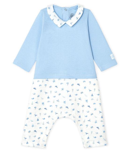 Combinación de bebé larga para niño azul Jasmin / blanco Multico