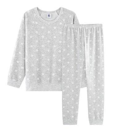 Pijama de punto de terciopelo gris Beluga / blanco Marshmallow