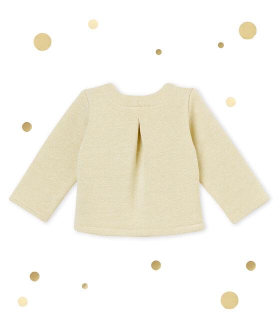 Cárdigan para niña en muletón brillante blanco Marshmallow / amarillo Dore