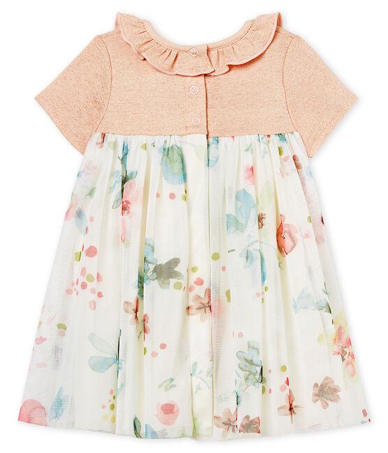 Vestido manga corta de dos materiales para bebé niña rosa Pearl / blanco Multico