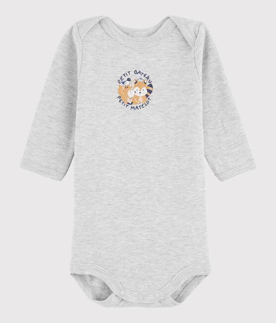 Bodi de manga larga de bebé niño gris Beluga Chine