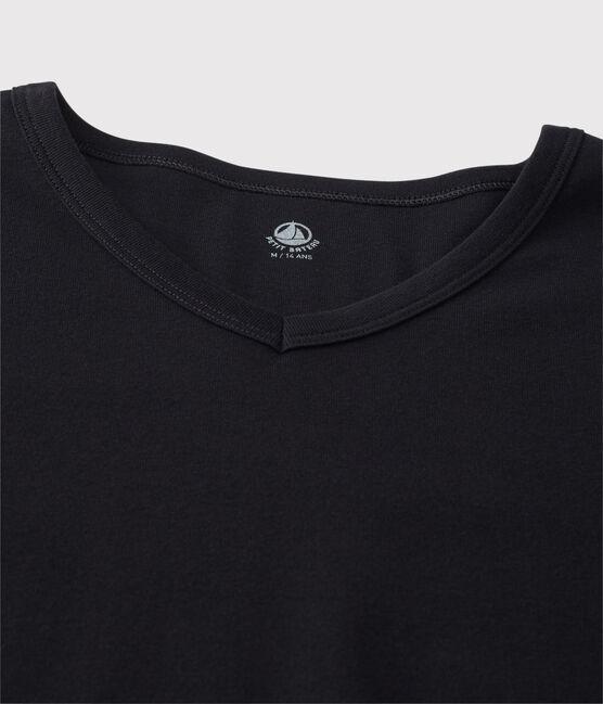 Camiseta de manga corta con cuello de pico para hombre negro Noir