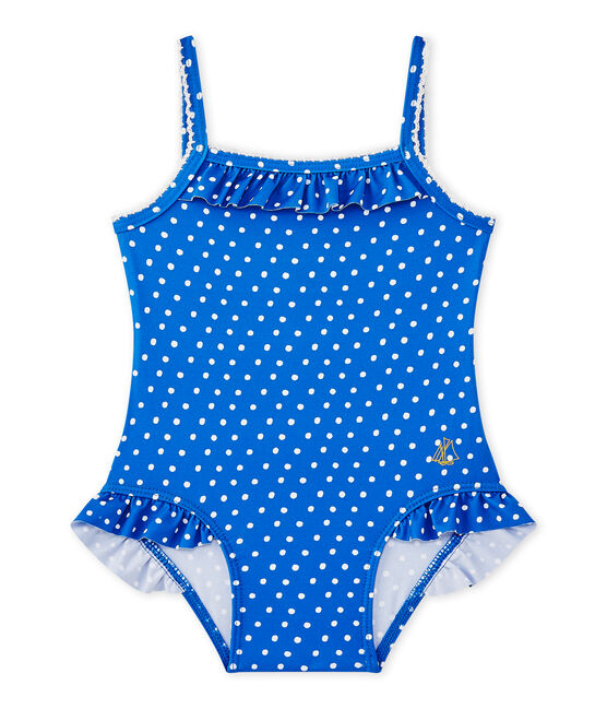 Bañador de niña con lunares azul Perse / blanco Marshmallow