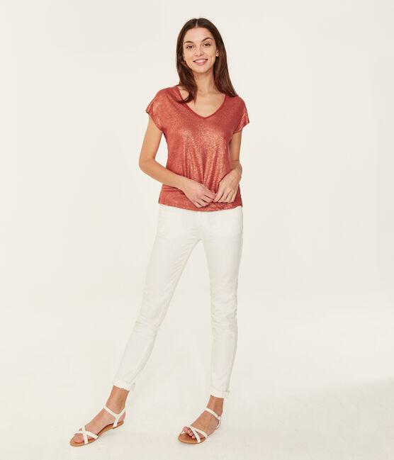 Camiseta manga corta lisa de lino irisada para mujer naranja Ombrie / rosa Copper