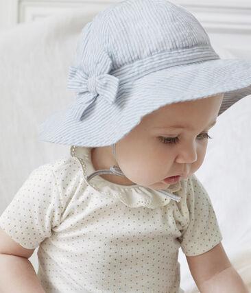 Capelina de sirsaca bebé niña blanco Marshmallow / azul Acier