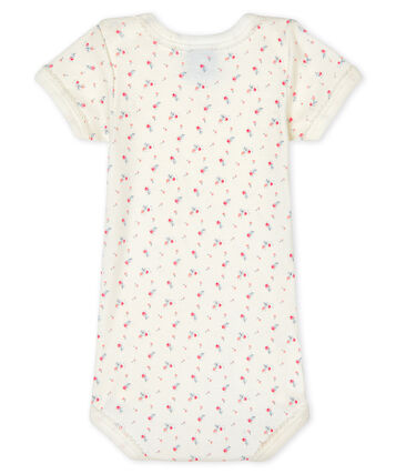 Bodi de manga corta para bebé niña blanco Marshmallow / blanco Multico