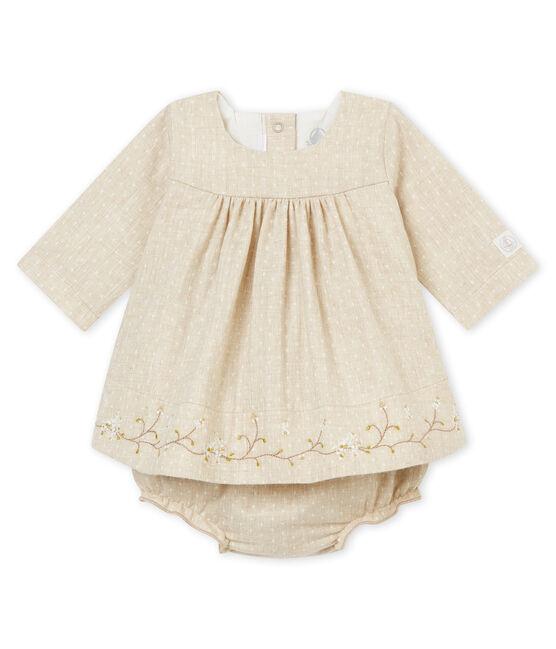 Vestido bloomer para niña beige Creamy Chine