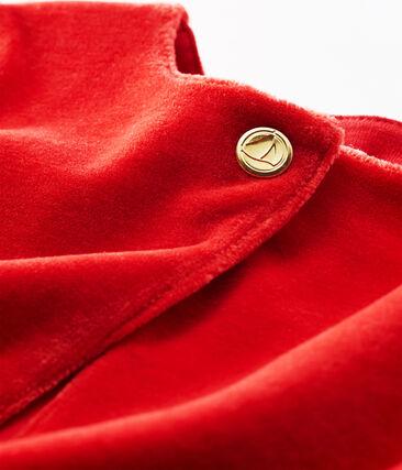 Cárdigan de rayas y terciopelo para bebé niña rojo Terkuit