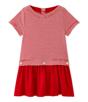 Vestido bebé niña milrayas rojo Terkuit / blanco Marshmallow