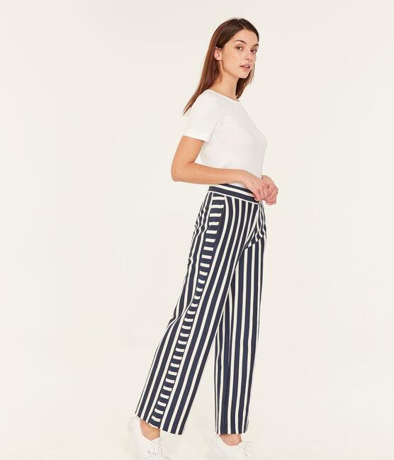 Pantalón para mujer azul Haddock / blanco Marshmallow