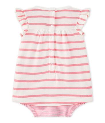 Vestido body de bebé niña de rayas blanco Marshmallow / rosa Petal
