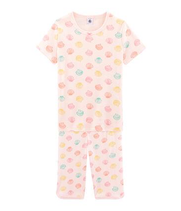 Pijama corto de punto para niña rosa Fleur / blanco Multico