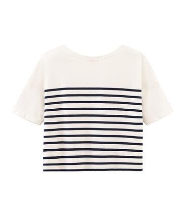 Jersey marinero manga corta para mujer blanco Marshmallow / azul Smoking