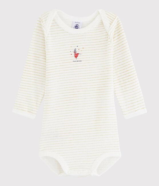 Bodi de manga larga de bebé niña blanco Ecume / amarillo Or