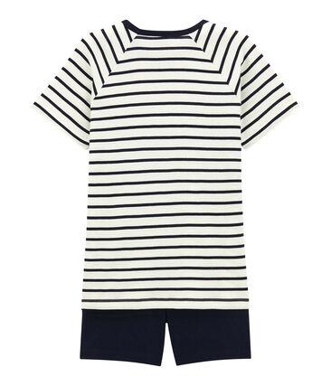Pijama corto de punto para chico blanco Marshmallow / azul Smoking