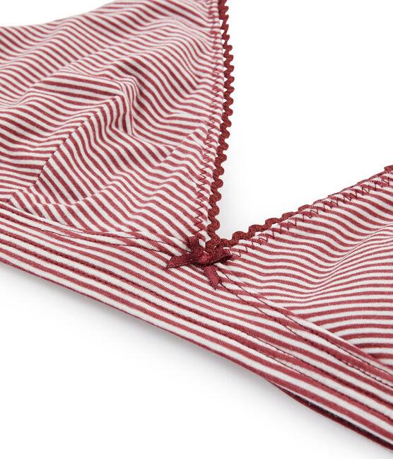 Sujetador triangula de mujer rojo Carmin / blanco Marshmallow