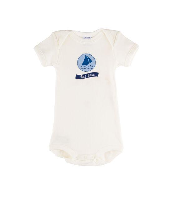 Body de manga corta para bebé niña blanco Marshmallow / azul Jasmin