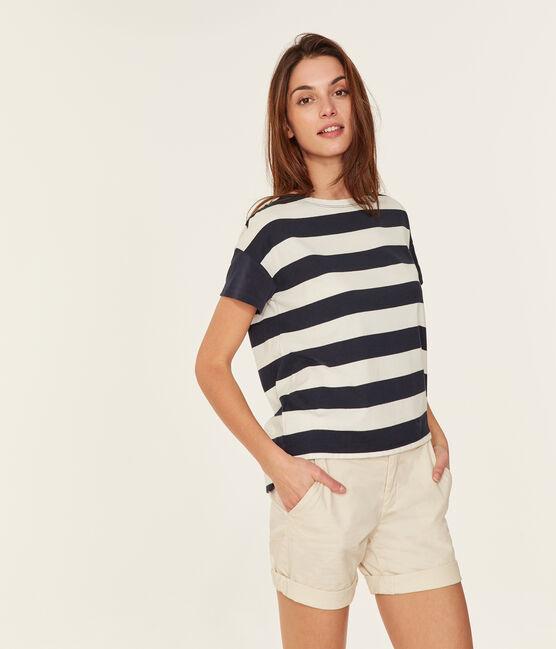 Camiseta manga corta gráfica para mujer azul Smoking / blanco Marshmallow