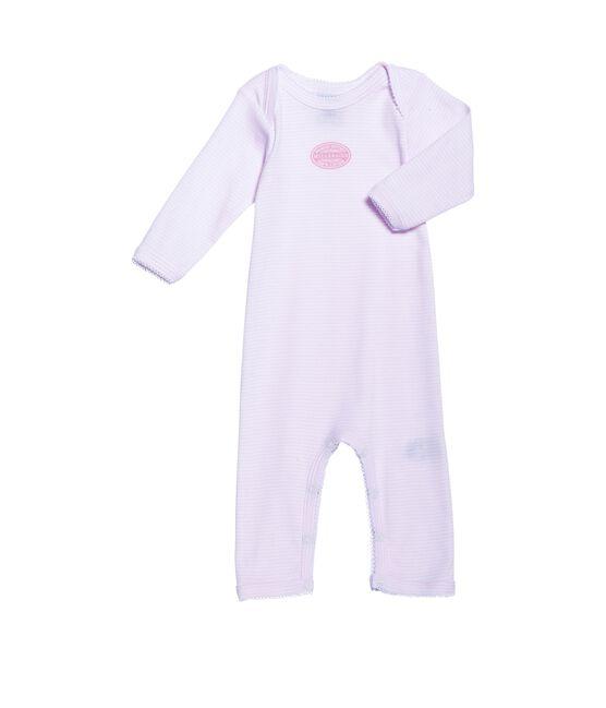 Body largo milrayas para bebé niña rosa Vienne / blanco Ecume