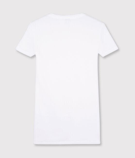 Camiseta icónica con cuello redondo para mujer blanco Ecume