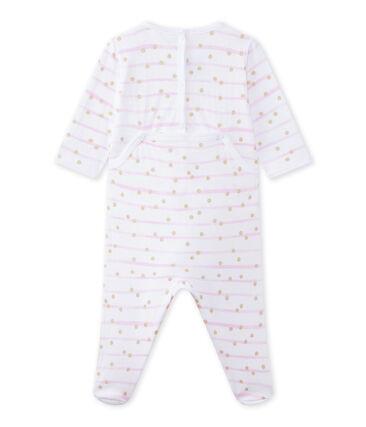 Pijama en túbico rayado para bebé niña blanco Ecume / rosa Rose