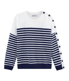 Jersey para mujer azul Smoking / blanco Marshmallow