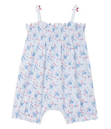 Mono corto estampado para bebé niña blanco Ecume / azul Bleu