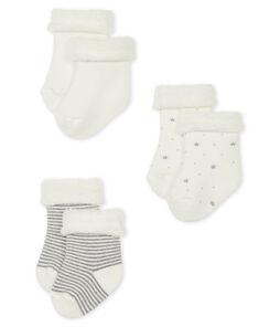 Tres calcetines de bebé de jersey lote .