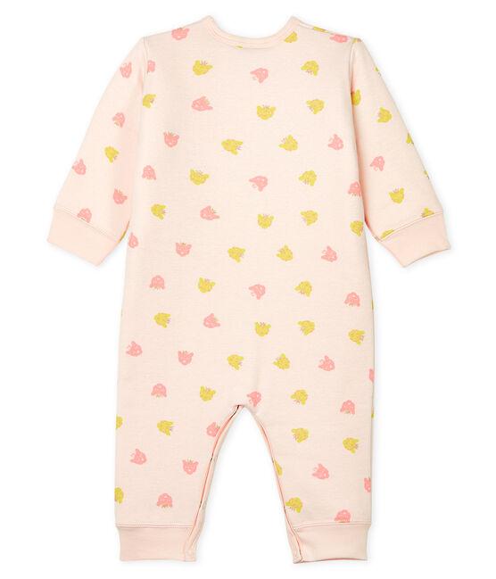 Pijama sin pies de punto acolchado para bebé de niña rosa Fleur / blanco Multico