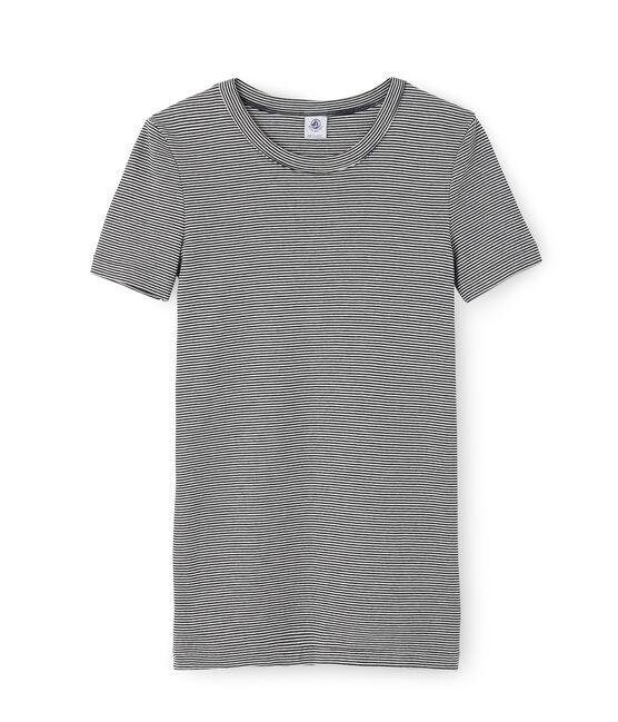 Camiseta de manga corta icónica de mujer azul Smoking / blanco Marshmallow