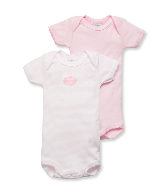 Lote de 2 bodies de manga corta en mil rayas para bebé niña lote .