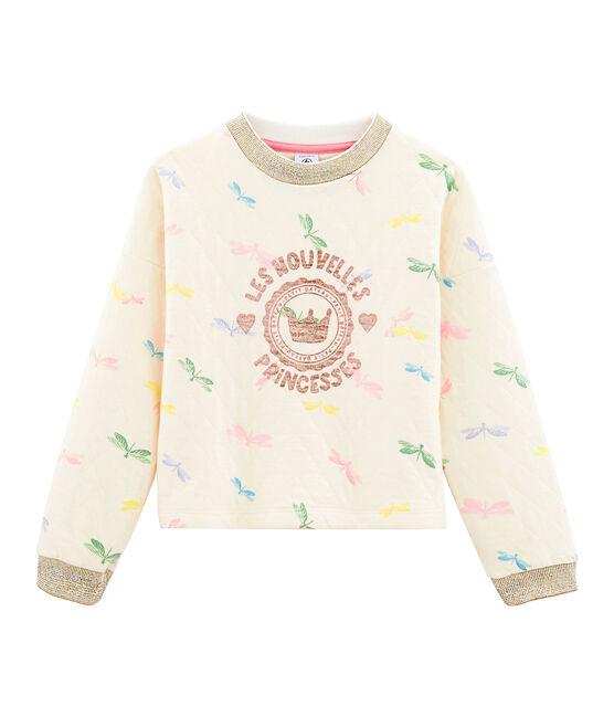 Sudadera de niña beige Coquille / blanco Multico