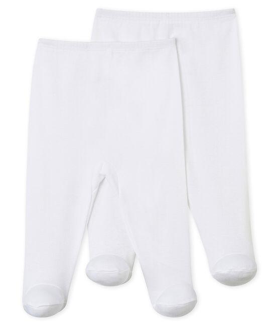 Juego de 2 pantalones con pies para bebé blanco Ecume
