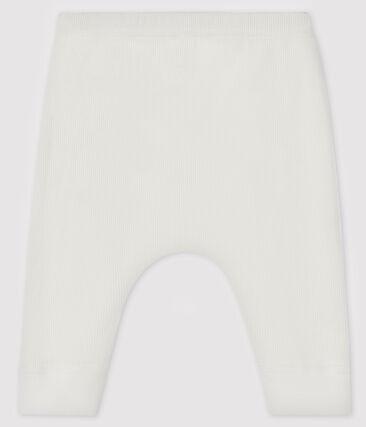 Pantalón de canalé 2x2 para bebé blanco Marshmallow