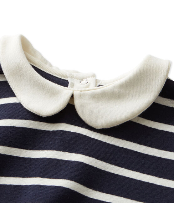 T-shirt fille manches longues rayé azul Smoking / beige Coquille